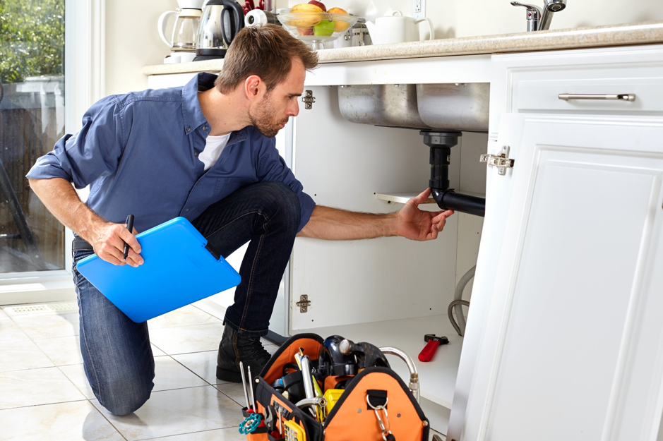 plumber-inspecting-pipes-kitchen
