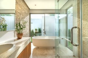 Remodeled master bathroom at a house in McHenry, Illinois