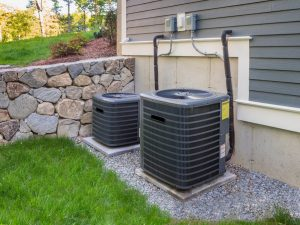 New HVAC system condenser outside of a house in Itasca, Illinois