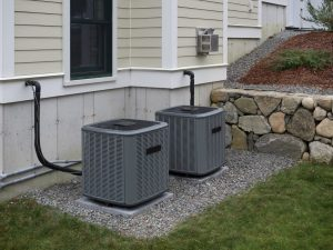 HVAC condenser outside of a house in Marengo, Illinois