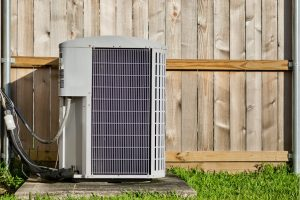 Air conditioning system outside of a house in Cary, Illinois