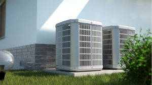 Air conditioning system at a house in Elgin, Illinois